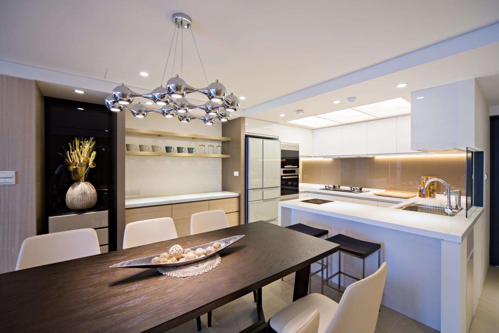 现代简约风开放厨房中岛